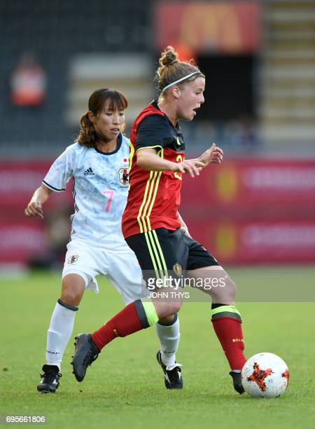 Japan's midfielder Ami Naomoto vies with Belgium's defender Laura Deloose during the Women's International friendly football match between Belgium...