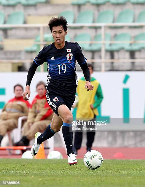 Japan's Midfielder Daichi Kamada during the Friendly match between Japan U23 v Sporting Clube de Portugal B at Estadio Municipal de Rio Maior on...