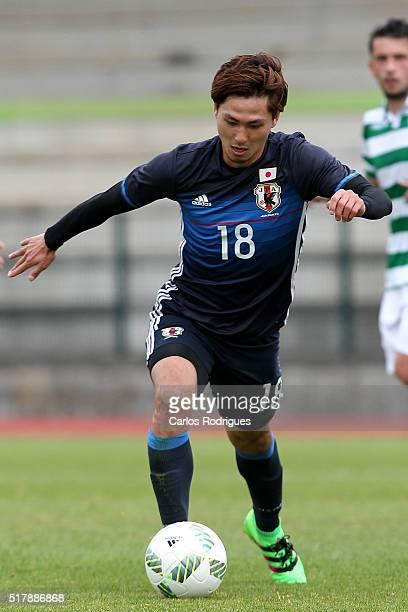 Japan's Midfielder Takumi Minamino during the Friendly match between Japan U23 v Sporting Clube de Portugal B at Estadio Municipal de Rio Maior on...