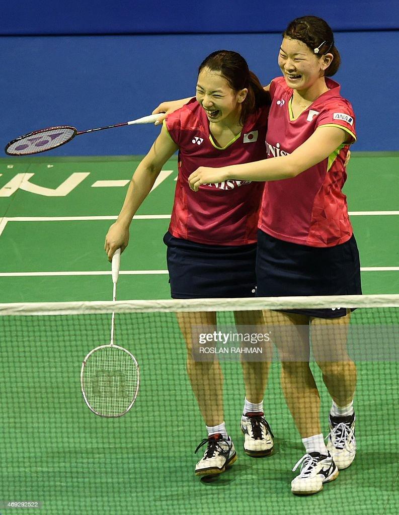 Japan s Misaki Matsutomo R and Ayaka Takahashi L celebrate