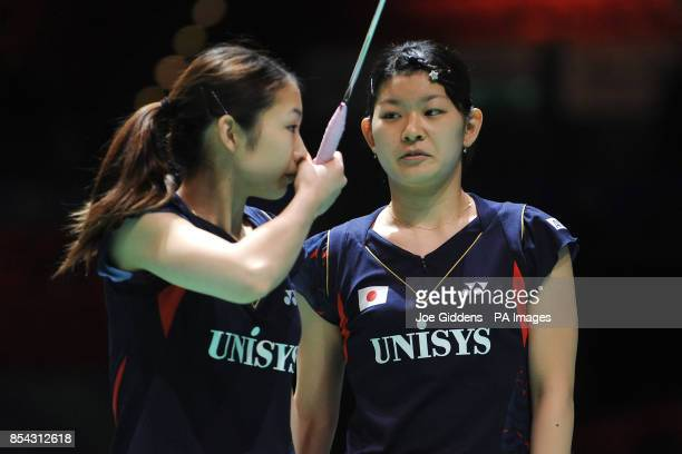 Japan's Misaki Matsutomo and Ayaka Takahashi during day two of the 2013 Yonex All England Badminton Championships at the National Indoor Arena...