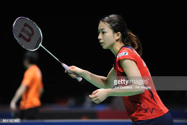 Japan's Misaki Matsutomo during day two of the 2013 Yonex All England Badminton Championships at the National Indoor Arena Birmingham