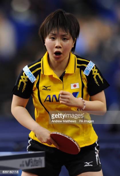 Japan's Misaki Morizono celebrates winning a point against Korea's Hyun Jung Moon during their Women's Singles first round match during the Pro Tour...