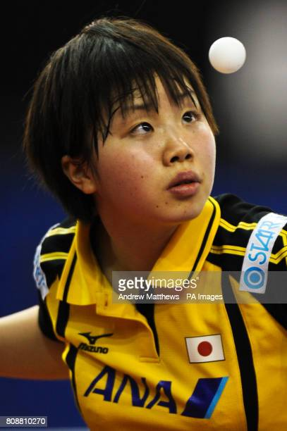 Japan's Misaki Morizono in action against Korea's Hyun Jung Moon during their Women's Singles first round match