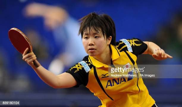 Japan's Misaki Morizono in action against Korea's Hyun Jung Moon during their Women's Singles first round match during the Pro Tour English Open at...