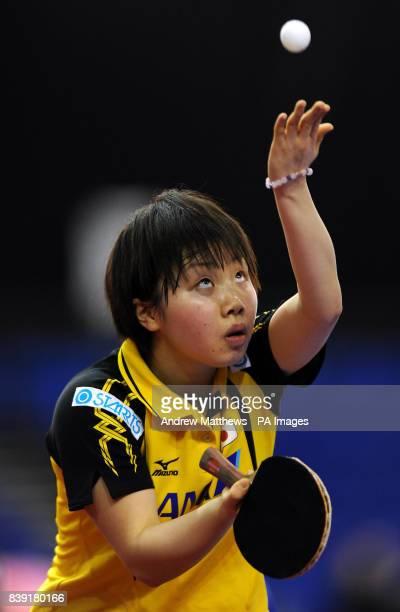Japan's Misaki Morizono serves to Korea's Hyun Jung Moon during the Pro Tour English Open at the English Institute of Sport Sheffield