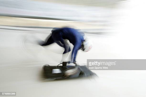 Japan's Misuzu Yoshimura is a blur as she heads down the start ramp at the Verizon Sports Complex Bobsled run during an official training run for the...
