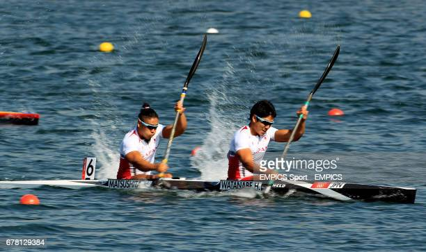 Japan's Momotaro Matsushita and Hiroki Watanabe in action in the final of the men's double kayak 200m sprint event at Eton Dorney during day fifteen...