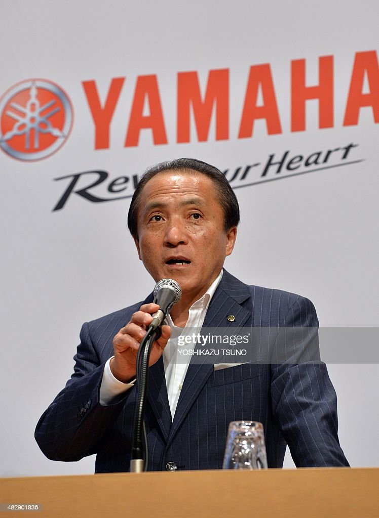 Japan's motorcycle giant Yamaha Motor president Hiroyuki Yanagi announces the first half financial result in Tokyo on August 4, 2015. Yamaha's net sales increased 8.6 percent to 821 billion yen (6.62 billion USD) and operating income increased 42 percent to 69.7 billion yen (562 million USD) thanks to sales of motorcycles and marine products. AFP PHOTO / Yoshikazu TSUNO