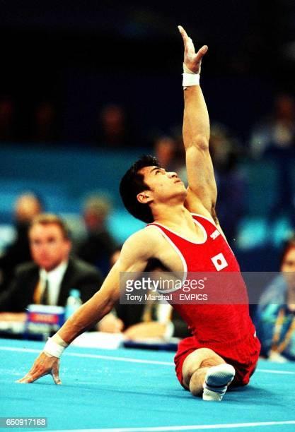 Japan's Mutsumi Harada performs on the floor discipline