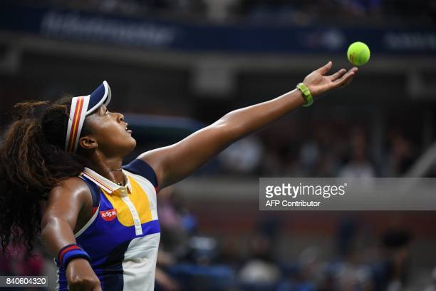 Japans Naomi Osaka returns the ball to Germanys Angelique Kerber during their 2017 US Open Women's Singles match at the USTA Billie Jean King...