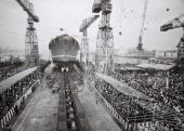 Japan's nuclear ship 'Mutsu' launching ceremony at the IshikawajimaHarima Heavy Industry Co Ltd Tokyo Factory on June 12 1969 in Tokyo Japan The...