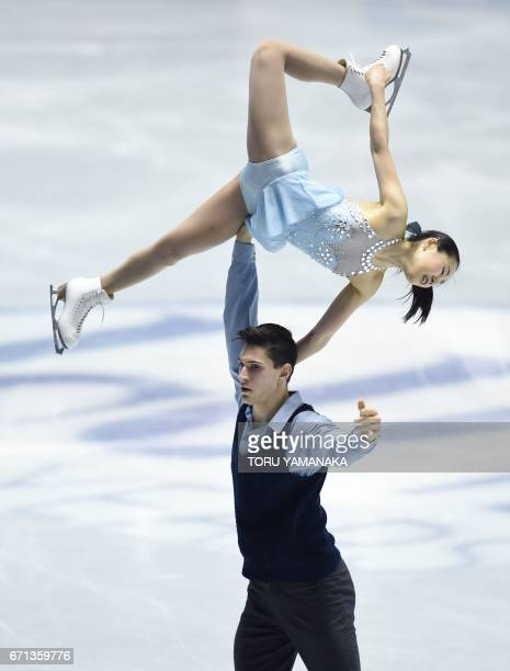 Japan's pair Sumire Suto and Francis BoudreauAudet perform during the free skating pairs event in the World Team Trophy figure skating competition in...