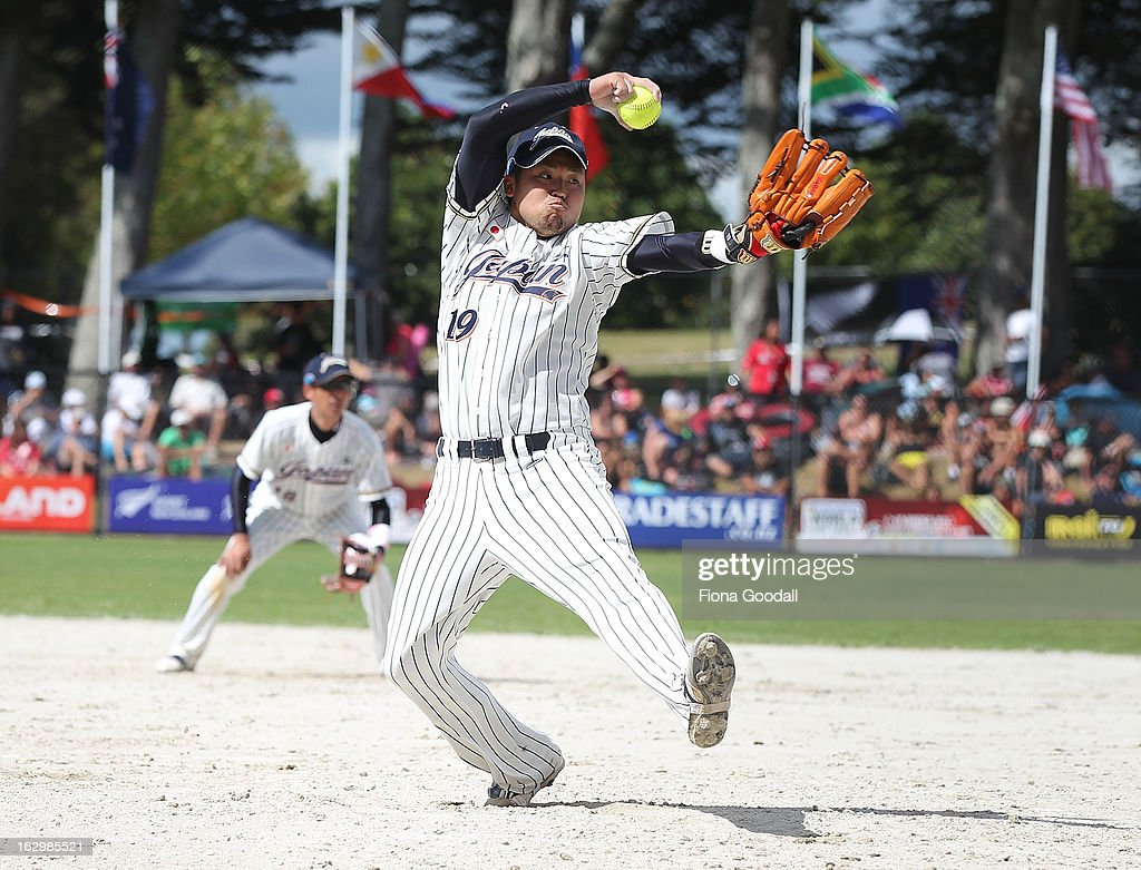 Japan's pitcher Matsuda Hikaru during the pool B match between New Zealand Black Sox and Japan at Rosedale Park, Albany on March 3, 2013 in Auckland, New Zealand.