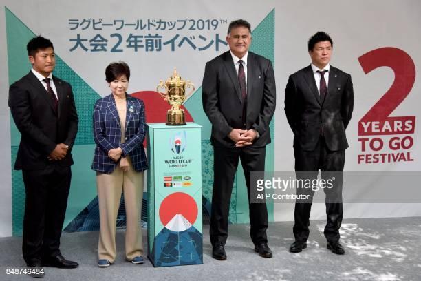 Japan's player Shuhei Matsuhashi Tokyo Governor Yuriko Koike head coach of Japan's national team Jamie Joseph and Japan's player Harumichi Tatekawa...