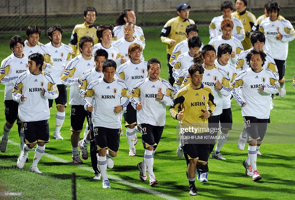Japan's players jog during their team's first training session in George on June 6, 2010. Japan team arrived in George earlier in the day to hold their training camp ahead of the start of the 2010 World Cup football tournament.