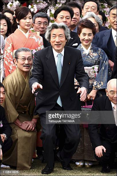 Japan'S Prime Minister Junichiro Koizumi Attends A Cherry Blossom Viewing Party In Tokyo Japan On April 15 2006 Japan's Prime Minister Junichiro...