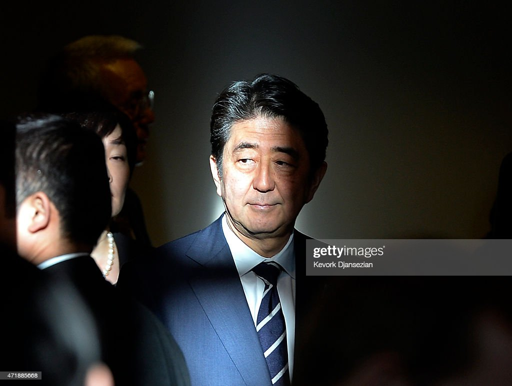 Japan's Prime Minister <a gi-track='captionPersonalityLinkClicked' href=/galleries/search?phrase=Shinzo+Abe&family=editorial&specificpeople=559017 ng-click='$event.stopPropagation()'>Shinzo Abe</a> attends a reception at the Japanese American National Museum May 1, 2015 in Los Angeles, California. Abe is on tour in the United States until May 3.