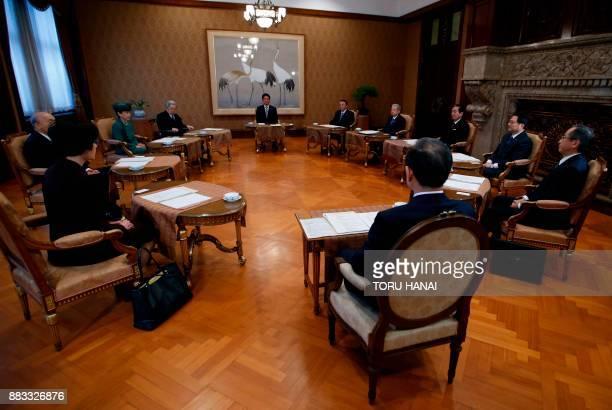 Japan's Prime Minister Shinzo Abe House of Representatives speaker Tadamori Oshima House of Councillors speaker Chuichi Date House of Representatives...