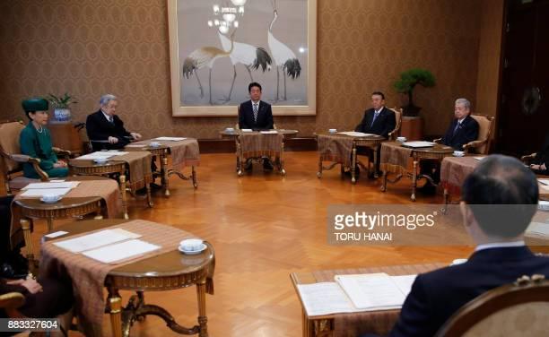 Japan's Prime Minister Shinzo Abe House of Representatives speaker Tadamori Oshima House of Councillors speaker Chuichi Date Chief Cabinet Secretary...