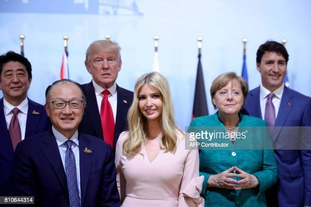 Japan's Prime Minister Shinzo Abe World Bank Group President Jim Yong Kim US President Donald Trump his daughter Ivanka Trump German Chancellor...