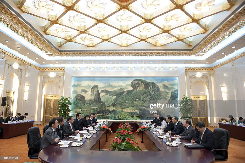 Japan's Prime Minister Yoshihiko Noda attends a meeting with China's President Hu Jintao at the Great Hall of the People on December 26 2011 in...