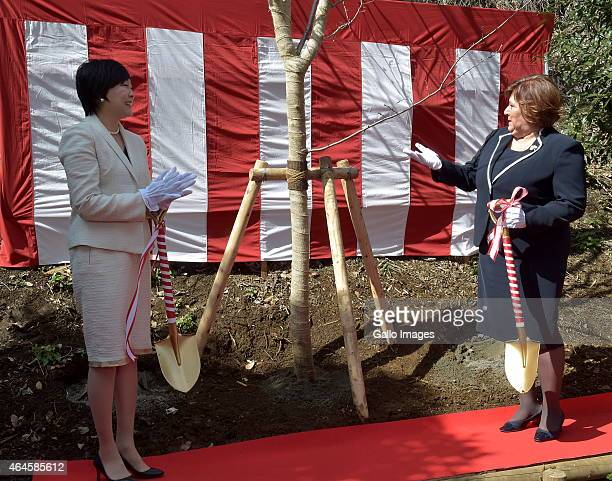 Japans Prime Minister's wife Akie Abe and First Lady of Poland Anna Komorowska at Fukudenkai orphanage on February 27 2015 in Tokyo Japan The...