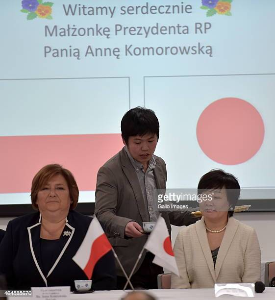 Japans Prime Minister's wife Akie Abe and the First Lady of Poland Anna Komorowska during a visit to Fukudenkai orphanage on February 27 2015 in...