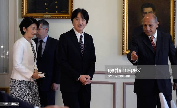 Japan's Prince Akishino and his wife Princess Kiko attend a lunch organized by Valparaiso's governor office on September 28 2017 / AFP PHOTO /...
