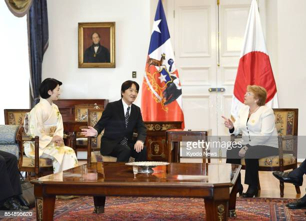 Japan's Prince Akishino and his wife Princess Kiko pay a courtesy call on Chilean President Michelle Bachelet in Santiago on Sept 27 2017 The couple...