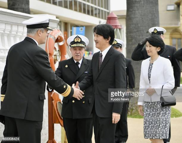 Japan's Prince Akishino and his wife Princess Kiko visit a tsunami observation facility of the Chilean navy in the coastal city of Valparaiso on Sept...