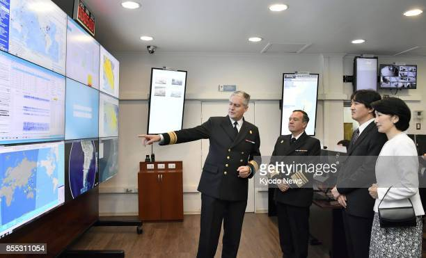 Japan's Prince Akishino and his wife Princess Kiko visit a tsunami observation facility of the Chilean navy in the coastal city of Valparaiso on Sept...