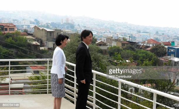 Japan's Prince Akishino and his wife Princess Kiko visit La Sebastiana former residence of late Chilean poet and Nobel laureate Pablo Neruda in...