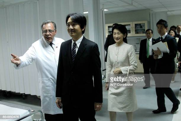 Japan's Prince Akishino and his wife Princess Kiko visit the ChileanJapanese Institute of Digestive Diseases at the San Borja Arriaran Hospital in...