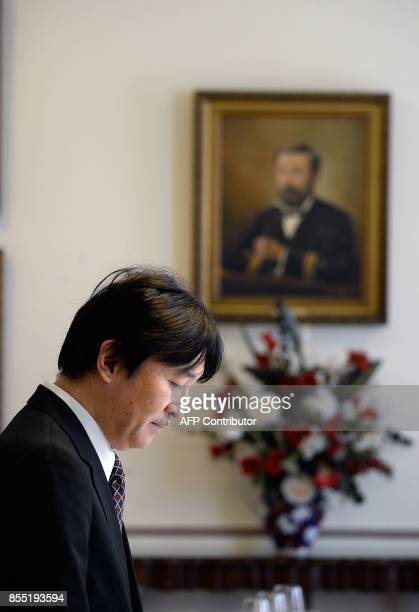 Japan's Prince Akishino attends a lunch organized by Valparaiso's governor office on September 28 2017 / AFP PHOTO / FRANCESCO DEGASPERI