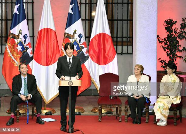 Japan's Prince Akishino gives a speech in the Chilean capital Santiago on Sept 27 at a ceremony commemorating the 120th anniversary of diplomatic...