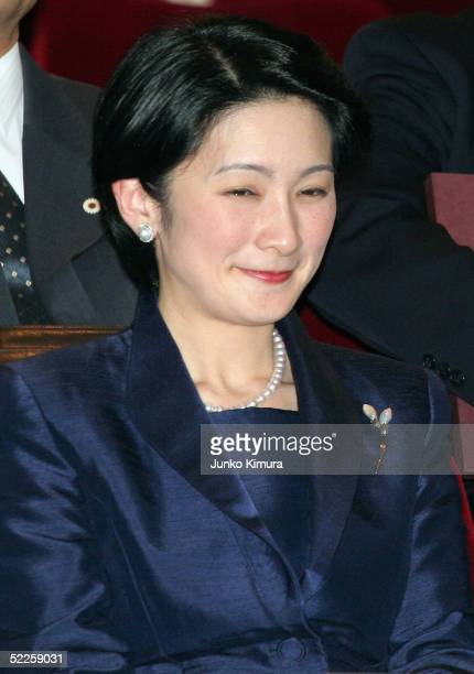 Japan's Princess Kiko take her seat at Ginza Gas Hall to watch Thai film 'Fan Chan' at a charity preview for Tsunami victims in Asia on March 1 2005...