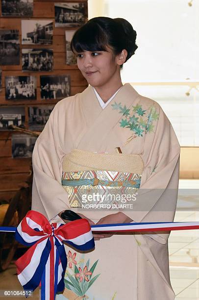 Japan's Princess Mako of Akishino is pictured during a ceremony to officially celebrate the 80th anniversary of Japanese immigration to Paraguay in...