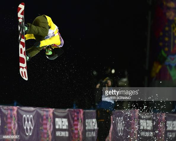 Japan's Rana Okada competes in the Women's Snowboard Halfpipe Semifinals at the Rosa Khutor Extreme Park during the Sochi Winter Olympics on February...