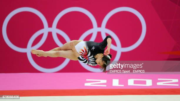 Japan's Rie Tanaka competes on the floor during the Artistic Gymnastics Women's team final at the North Greenwich Arena London during day four of the...