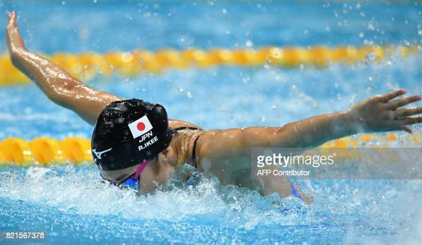 Japan's Rikako Ikee competes in the women's 100m butterfly final during the swimming competition at the 2017 FINA World Championships in Budapest on...