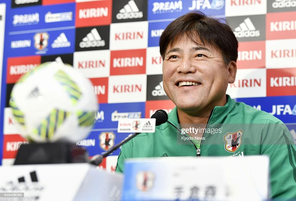 Japan's Rio Olympic coach Makoto Teguramori attends a press conference in the central Japan city of Matsumoto on June 28, 2016, ahead of a friendly against South Africa the next day.