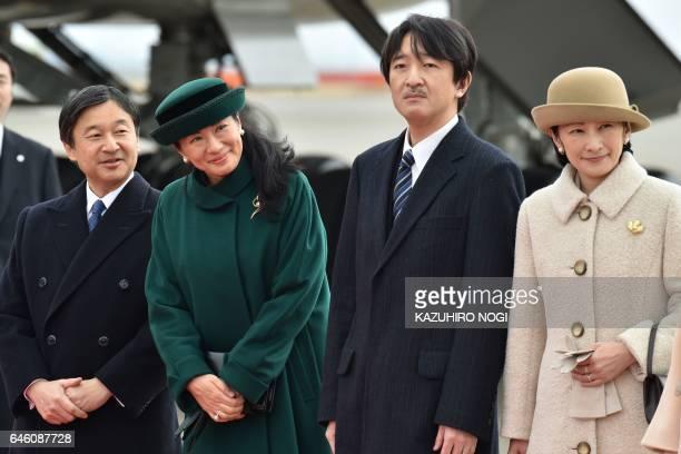Japan's royal family members Crown Prime Naruhito Crown Princess Masako Prince Akishino and Princess Kiko see off Emperor Akihito and Empress Michiko...