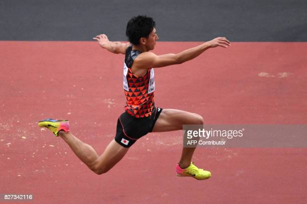 Japan's Ryoma Yamamoto competes in the qualifying round of the men's triple jump athletics event at the 2017 IAAF World Championships at the London...