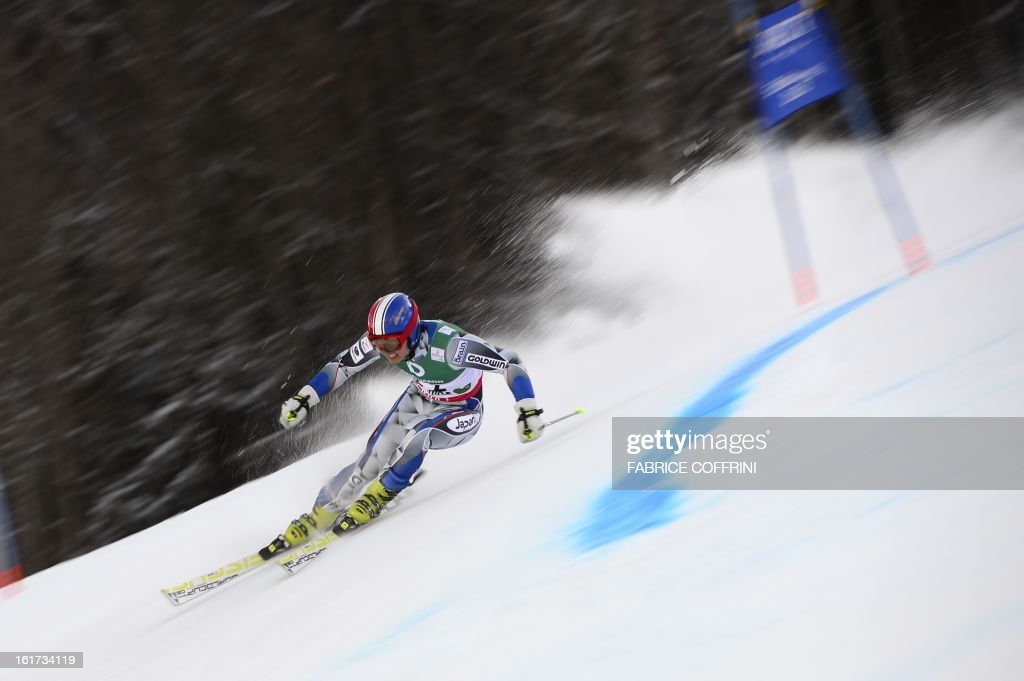 Japan's Ryonosuke Ohkoshi skis during the first run of the men's Giant slalom at the 2013 Ski World Championships in Schladming, Austria on February 15, 2013.