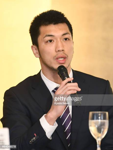 Japan's Ryota Murata the WBA's secondranked middleweight boxer attends a press conference at a Tokyo hotel on April 3 2017 The London Olympic gold...