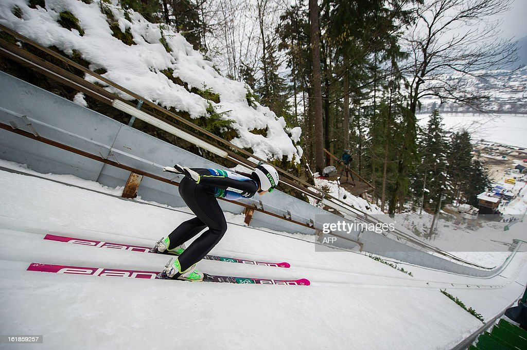 Japan's Sara Takanashi races down the track as she competes in the women's ski jumping World Cup event in Ljubno ob Savinji, Slovenia on February 17, 2013. Takanashi won the women's ski jumping World Cup event with 1137 points.