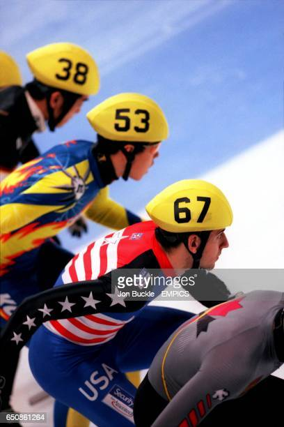 Japan's Satoru Terao Korea's Ryoung Min and USA's Daniel Weinstein line up at the start of the race