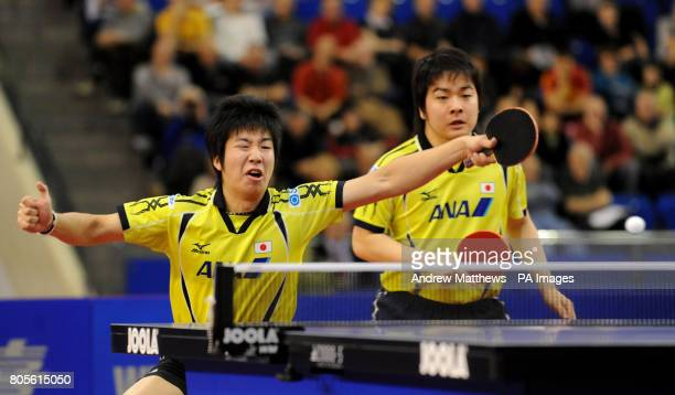 Japan's Seiya Kishikawa and Jun Mizutani in action against China's Ma Ling and Wang Liqin in the Men's Doubles Final during the National Table Tennis...