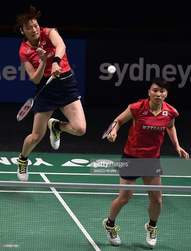 Japan s Shizuka Matsuo R and Mami Naito L play against